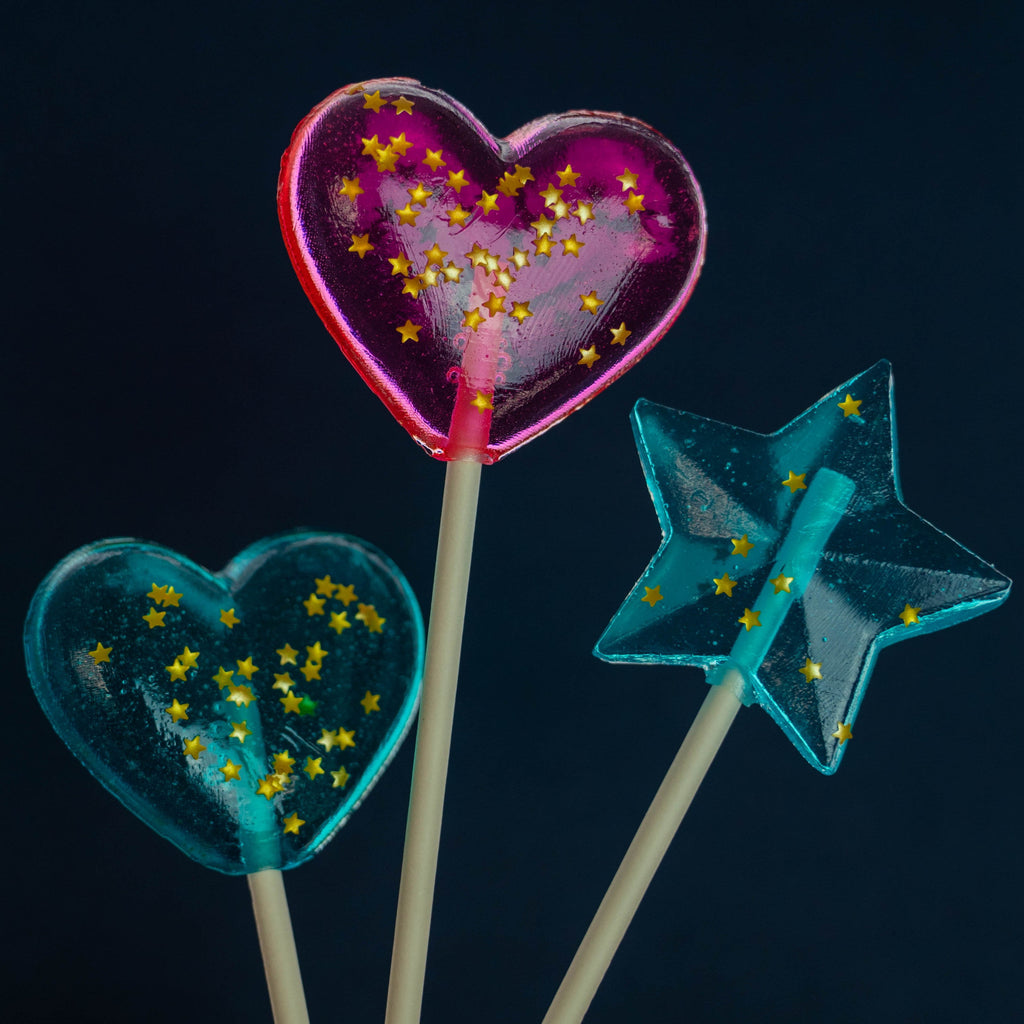 Sparkly Baby Blue Star Lollipops - Blue Raspberry (24 Pieces) - Sparko Sweets