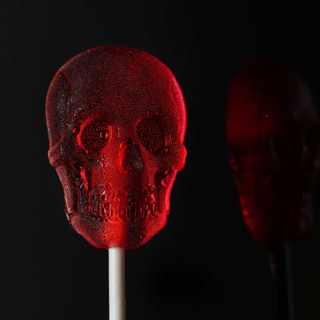 Red Sugar Skull Lollipops - Cherry (24 Pieces) - Sparko Sweets