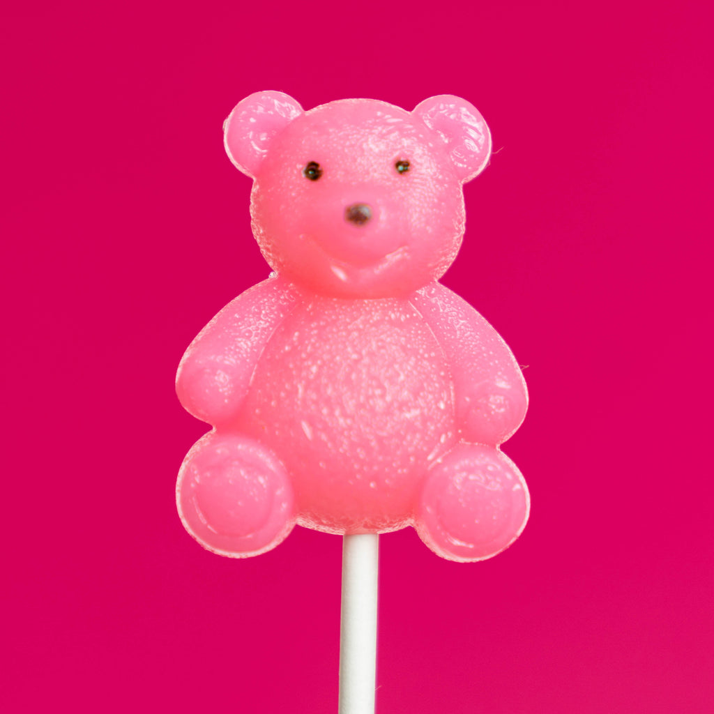 Pink Teddy Bear Lollipops - Watermelon (24 Pieces) - Sparko Sweets