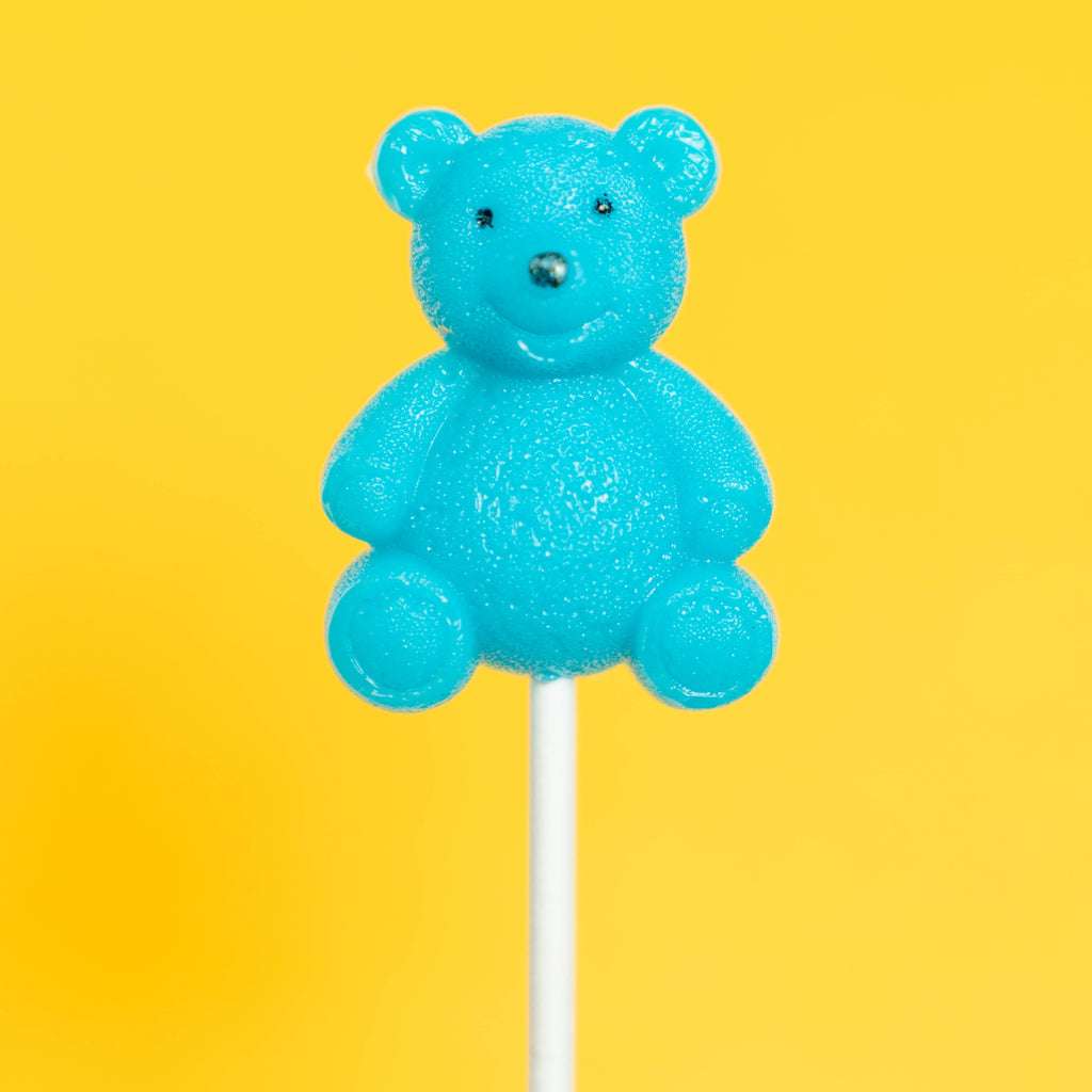 Blue Teddy Bear Lollipops - Blue Raspberry (24 Pieces) - Sparko Sweets