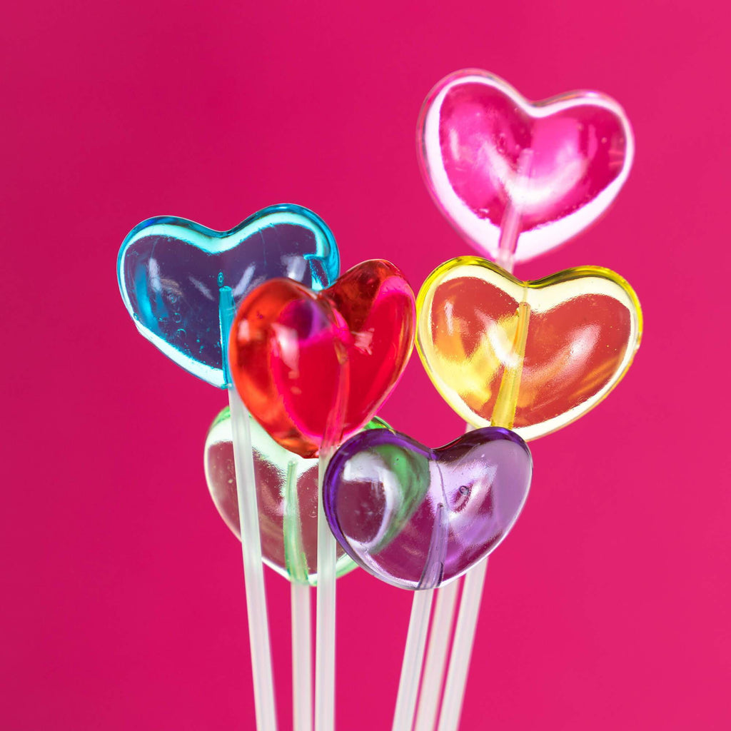 Mini Rainbow Heart Lollipops (120 Pieces) - Valentines Day Lollipops - Sparko Sweets