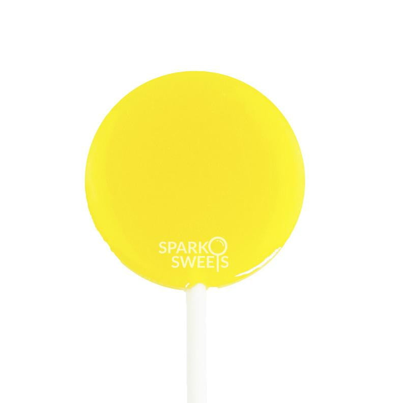 Yellow Peach Lollipops - Flat Round LUSH Pops (36 Pieces) - Sparko Sweets