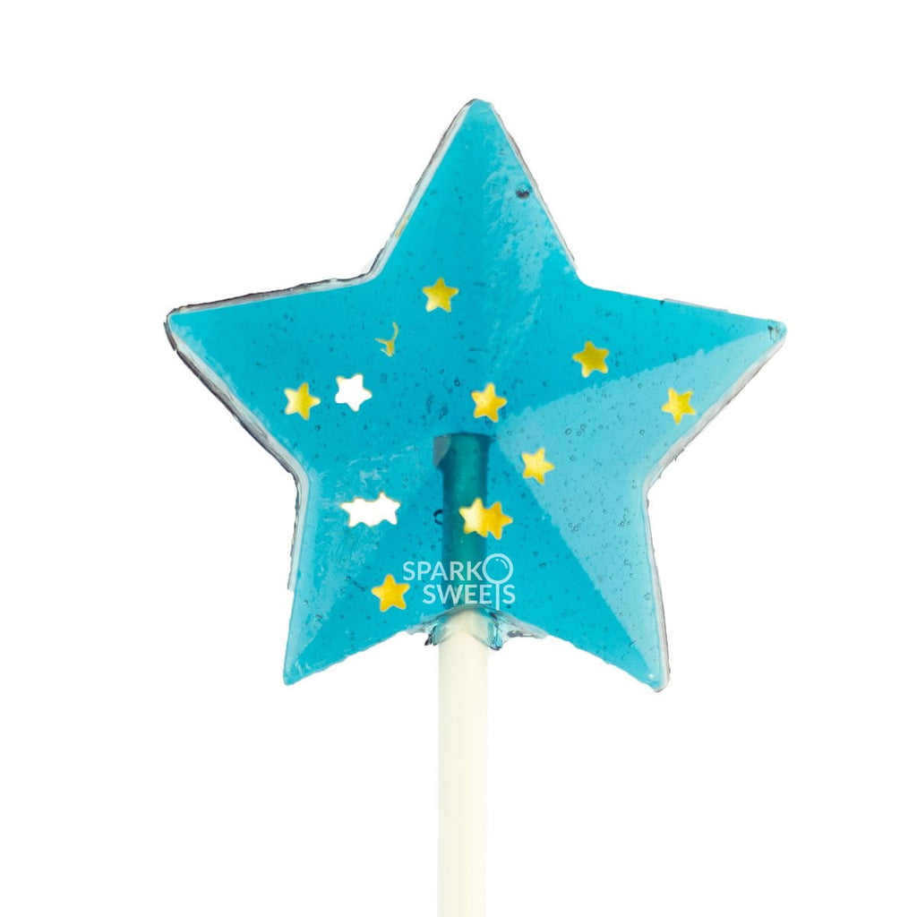 Starry Navy Star Lollipops - Blue Raspberry (24 Pieces) - Sparko Sweets