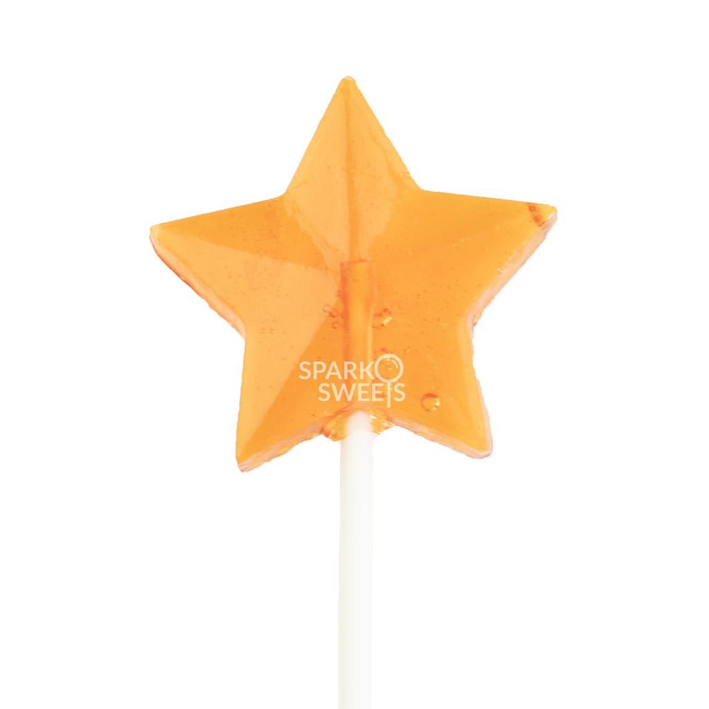 Sugar Free Orange Star Fireworks Lollipops (24 Pieces) - Sparko Sweets