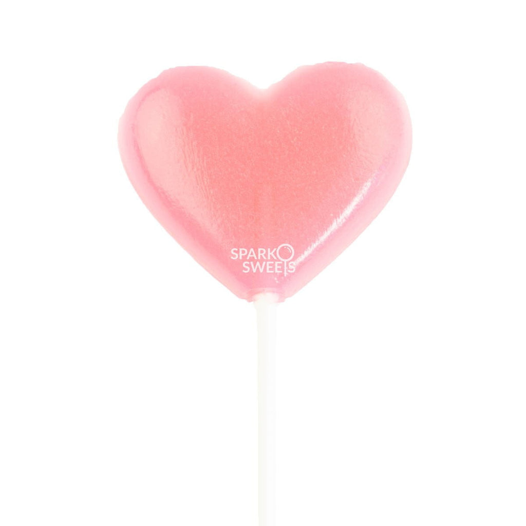 Pink Heart Lollipops (24 Pieces) - Watermelon Flavor - Sparko Sweets