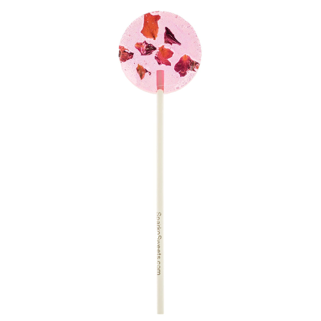 Pink Rose Petals Natural Lollipops (8 Pieces) - Sparko Sweets