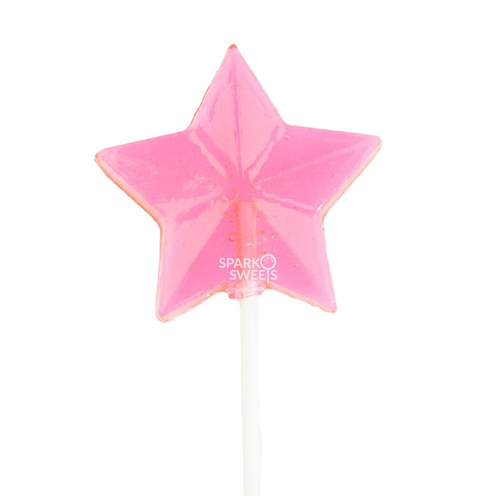 Pink Star Fireworks Lollipops (24 Pieces)