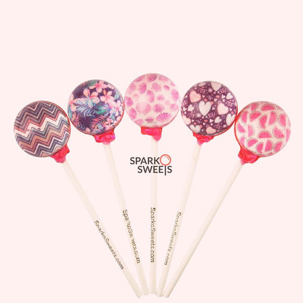 Custom Lollipops Pixel Pops - Pink (10 Pieces)