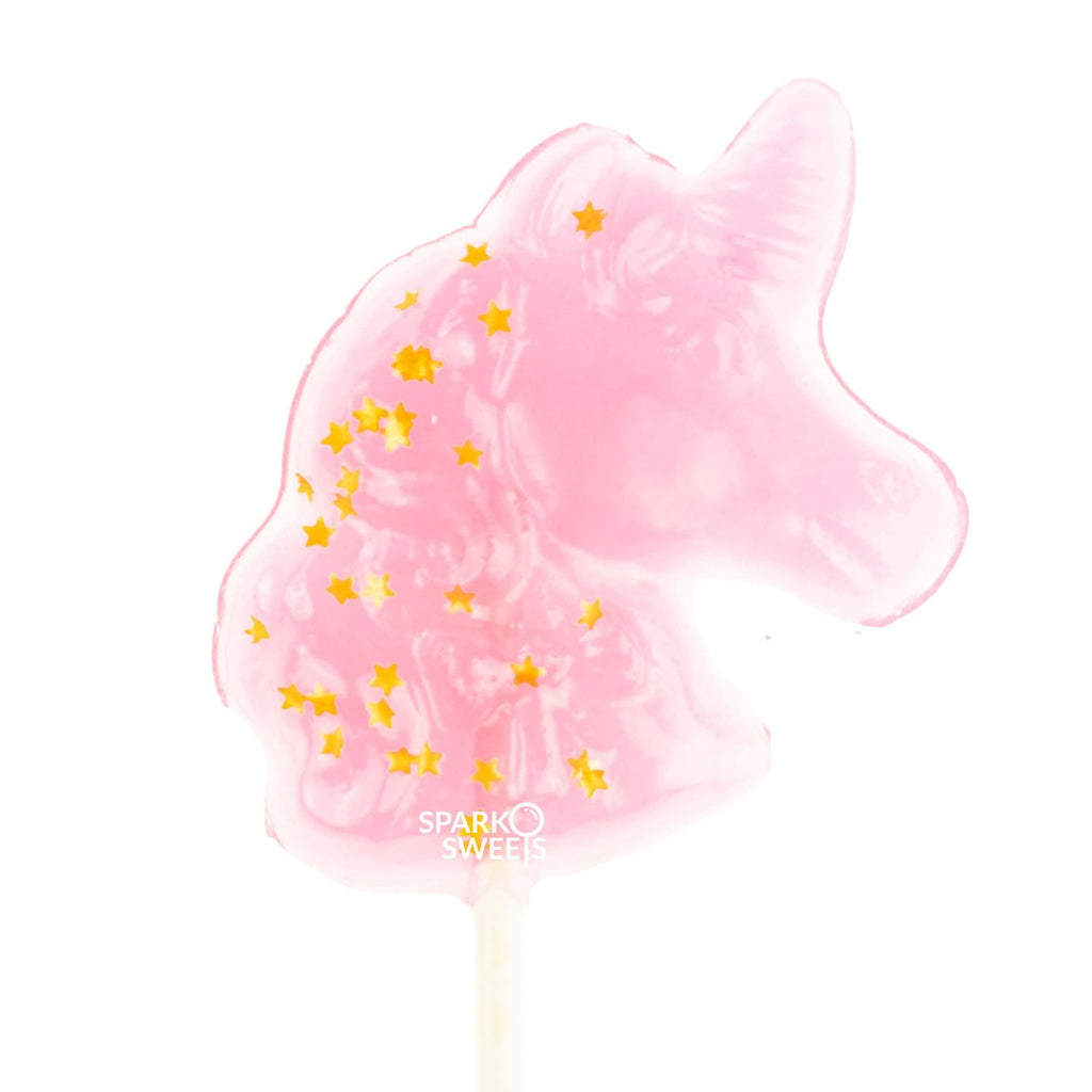 Sparkly Pink Unicorn Lollipops with Gold Stars - Watermelon (24 Pieces) - Sparko Sweets