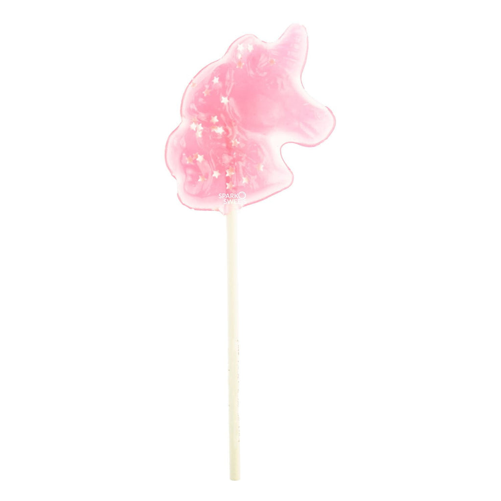 Sparkly Pink Unicorn Lollipops with Silver Stars - Watermelon (24 Pieces) - Sparko Sweets