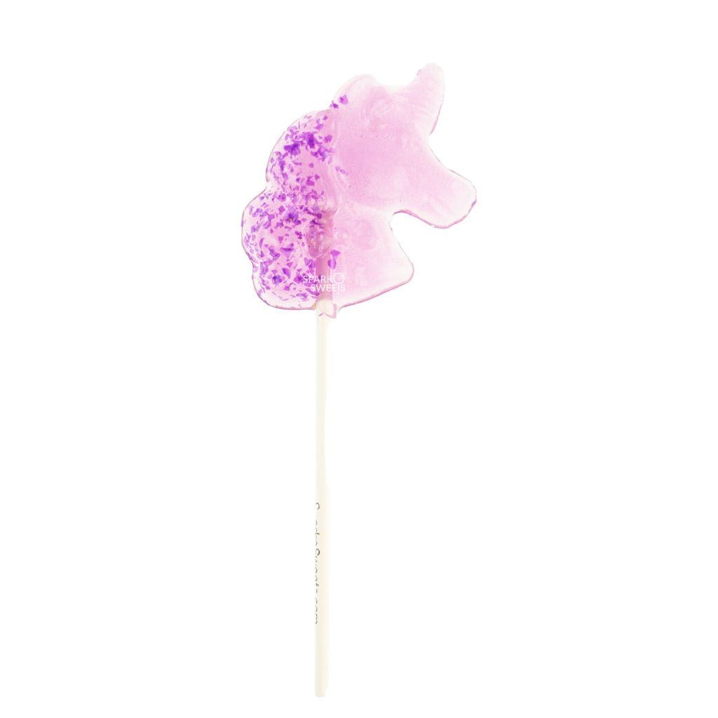 Sparkly Purple Unicorn Lollipops with Purple Glitter- Grape (24 Pieces) - Sparko Sweets