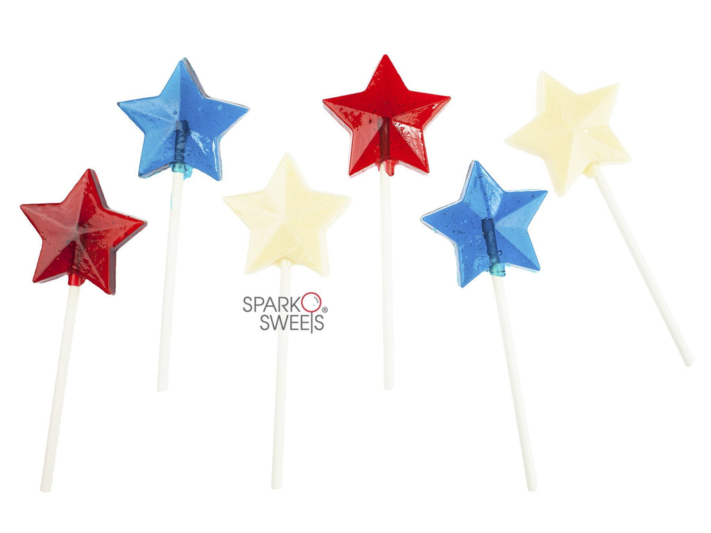 Red White Blue 4th of July Star Lollipops (24 Pieces) - Sparko Sweets