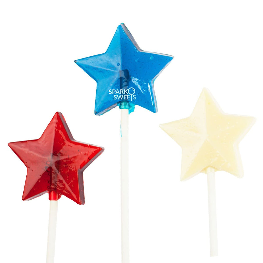 Red White Blue 4th of July Fireworks Star Lollipops (24 Pieces)