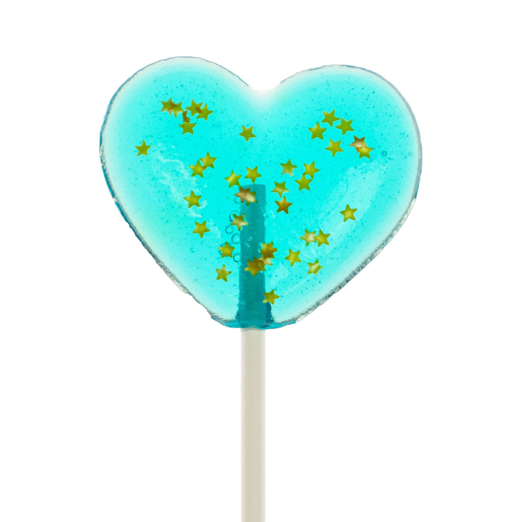Sparkly Baby Blue Heart Lollipops (24 Pieces)