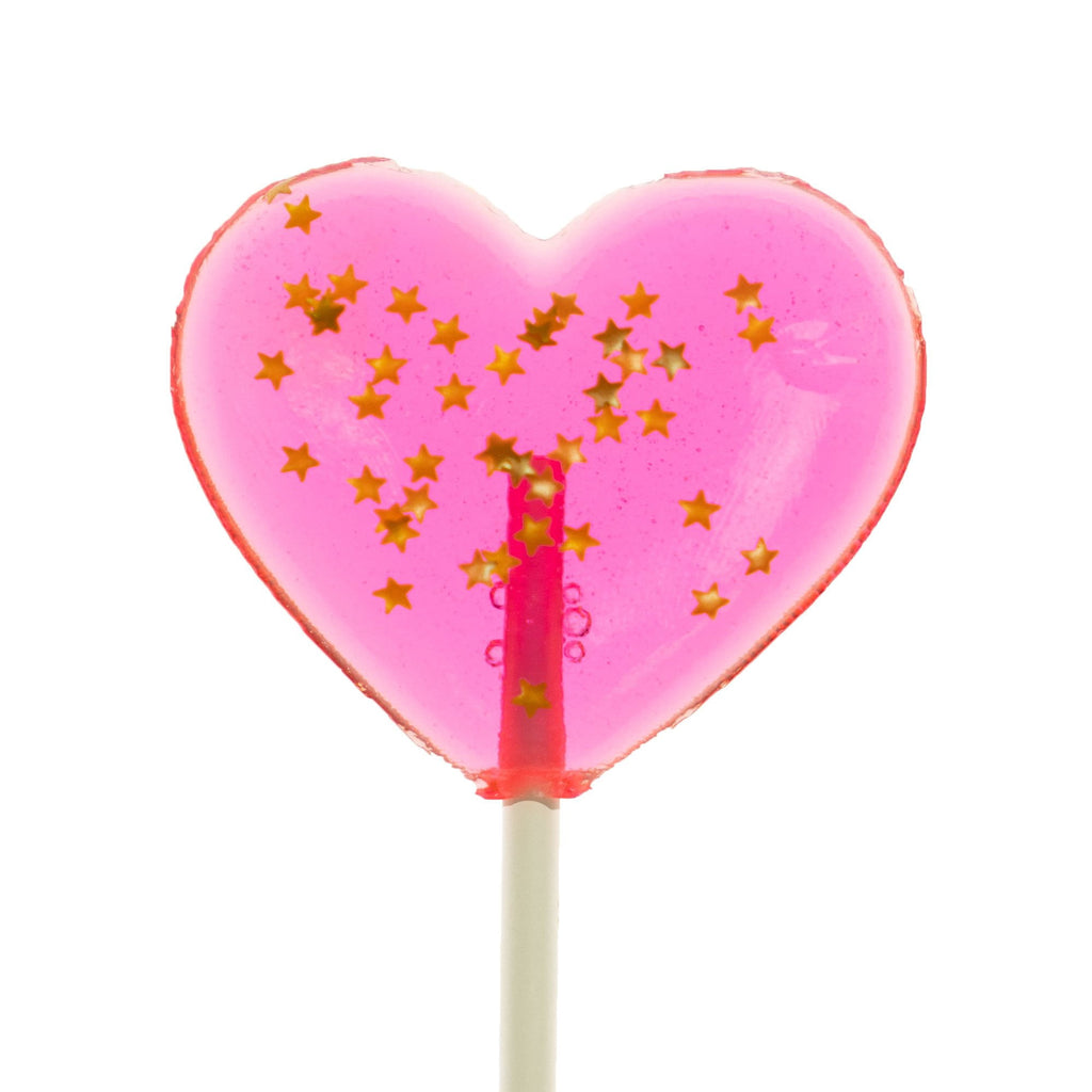 Sparkly Pink Heart Lollipops (24 Pieces)