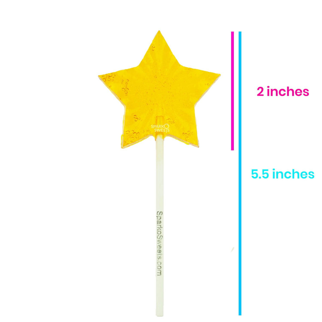 Sugar Free Yellow Star Lollipops - Peach (24 Pieces) - Sparko Sweets