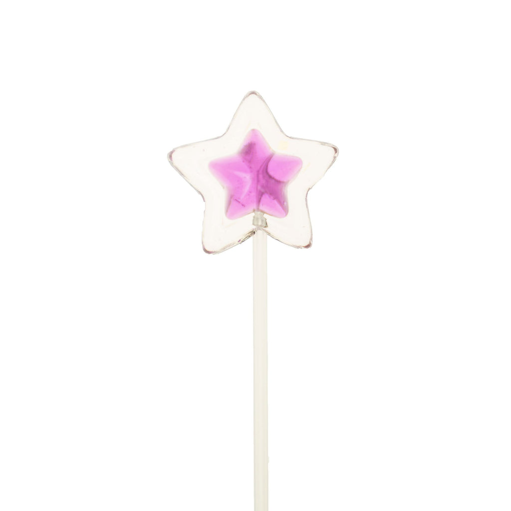 Double Color Star Lollipops Long-Stem Twinkle Pops - Purple & Clear (120 Pieces) - Sparko Sweets
