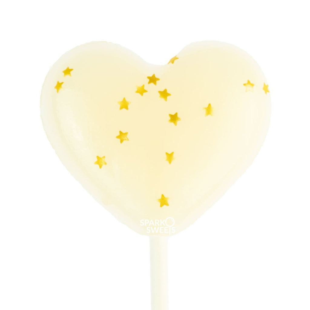 Starry White Heart Lollipops (24 Pieces) - Milk Flavor - Sparko Sweets