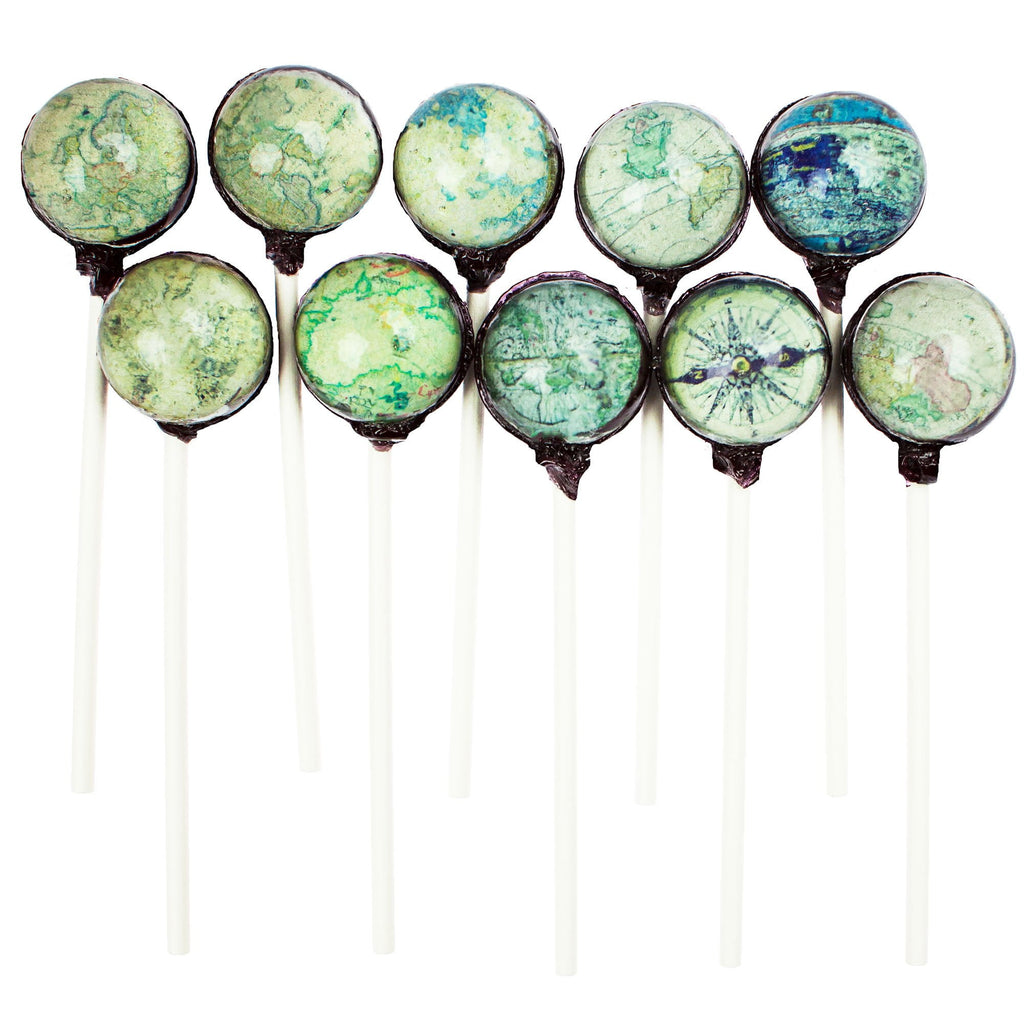 Ancient Map Designs Picture Lollipops (10 Pieces) - Sparko Sweets