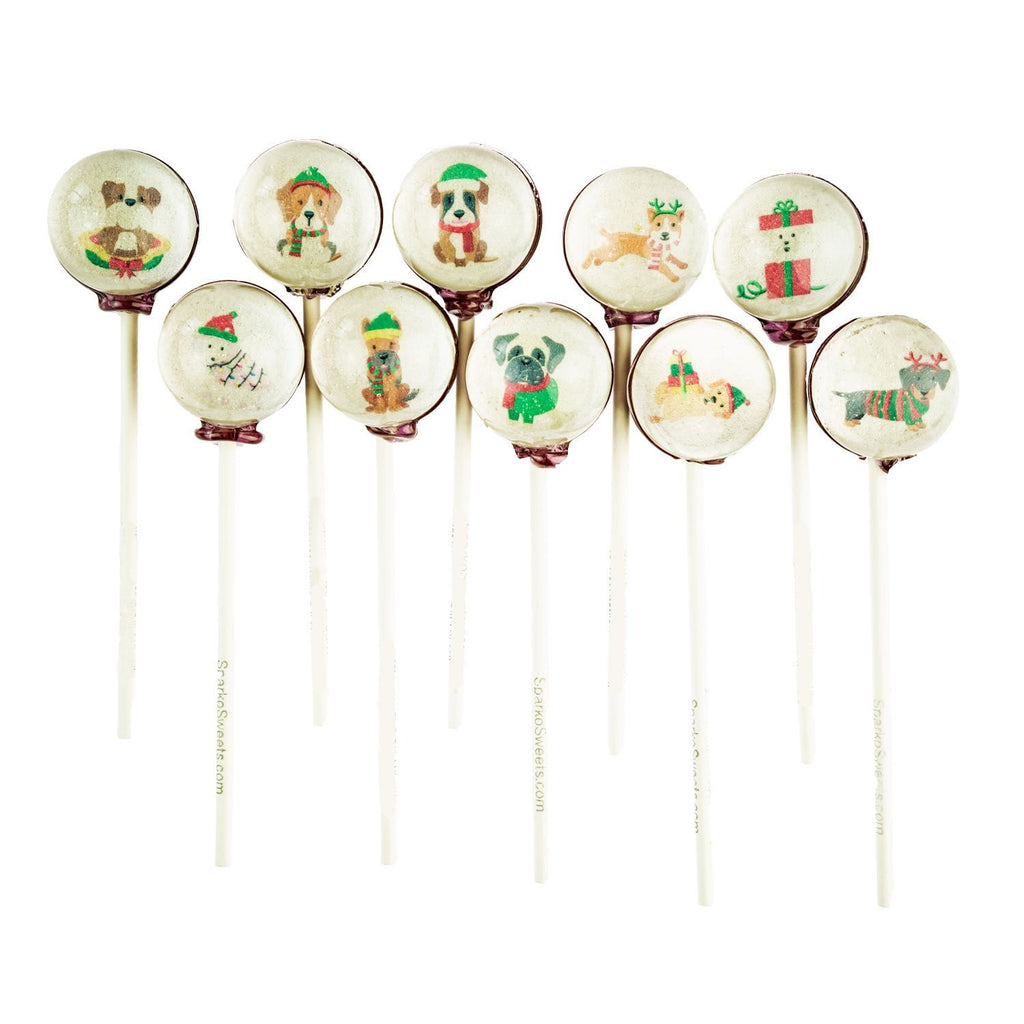 Friendly Dogs of Christmas Picture Lollipops (10 Pieces) - Sparko Sweets