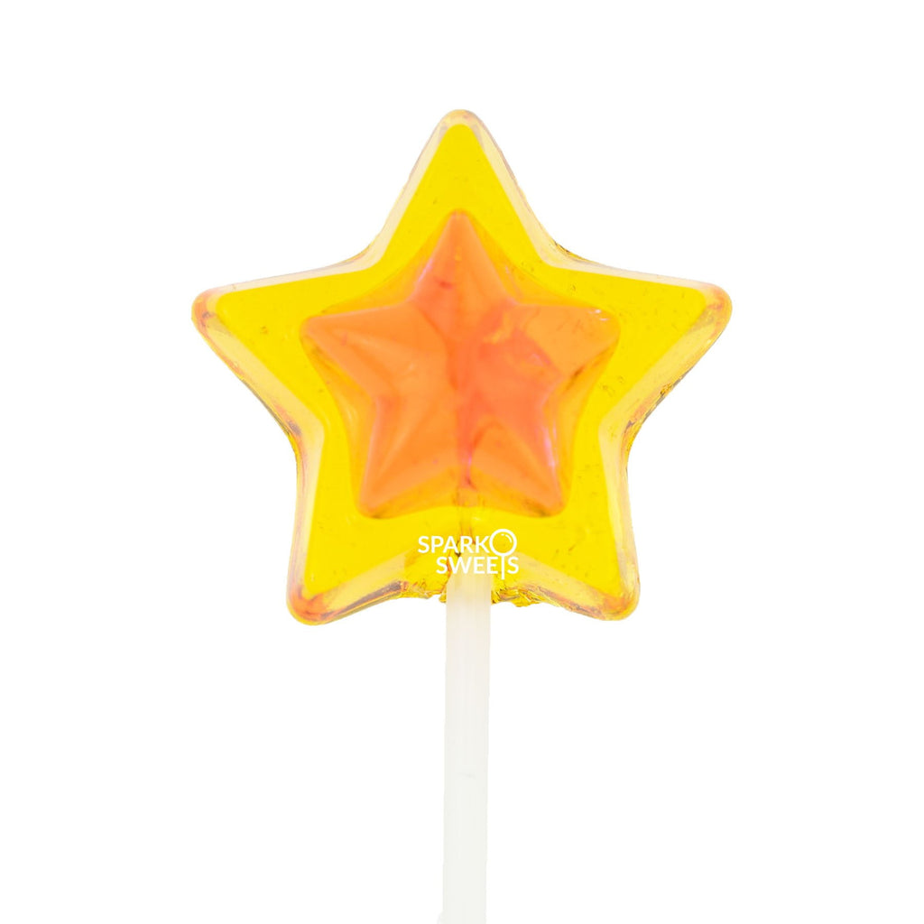 Sugar Free Double Color Star Lollipops Long-Stem Twinkle Pops - Yellow & Orange (120 Pieces) - Sparko Sweets