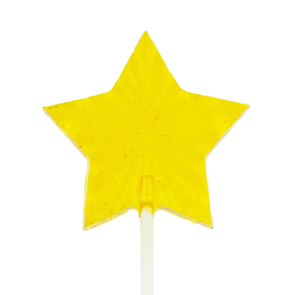 Yellow Star Fireworks Lollipops - Peach Flavor (24 Pieces) - Sparko Sweets