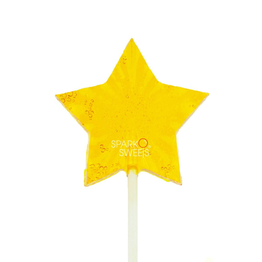 SugarFree Yellow Star Fireworks Lollipops (24 Pieces) - Sparko Sweets