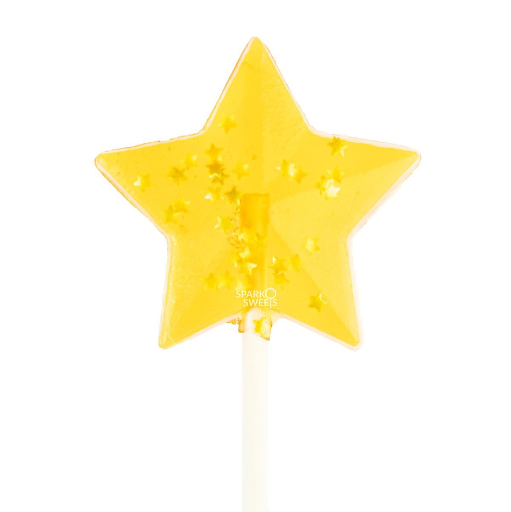 Starry Yellow Star Lollipops - Peach (24 Pieces) - Sparko Sweets