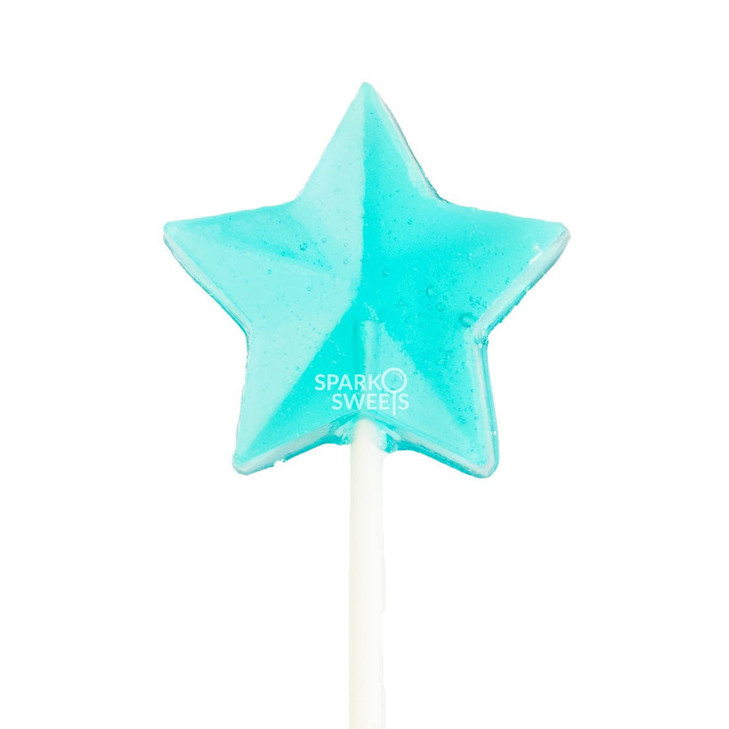 Baby Blue Star Lollipops - Blue Raspberry (24 Pieces) - Sparko Sweets