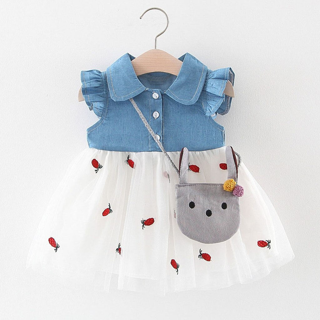 Denim & Tutu Summer Dress with Satchel