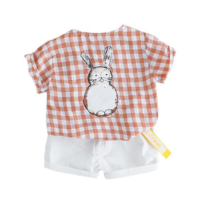 Boys Cartoon Totoro Plaid T shirt