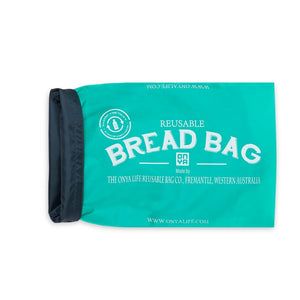 Aqua Bread Bag Rolled back