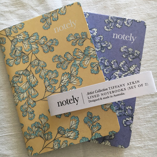 Fern Fancy Mauve + Lemon – A6 Notebooks (Set of 2)