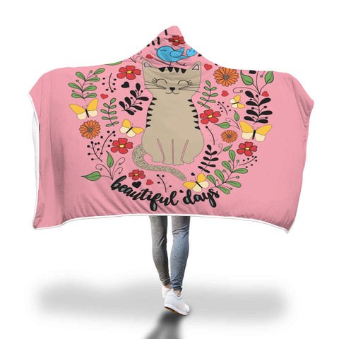 Cute Cat Hooded Blanket