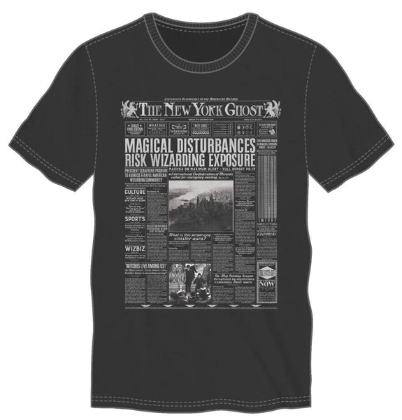 Harry Potter The New York Ghost American Wizarding Newspaper Men's Black T-Shirt - Nerd Gear Lab