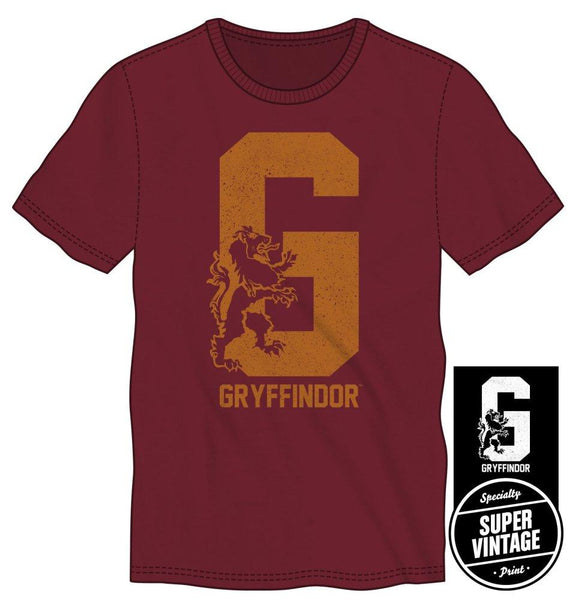 Harry Potter Gryffindor House Pride Big G with Lion Men's Burgundy T-Shirt - Nerd Gear Lab