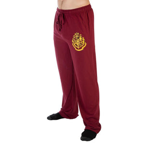 Harry Potter Hogwarts Crest Burgundy Sleep Lounge Pants - Nerd Gear Lab