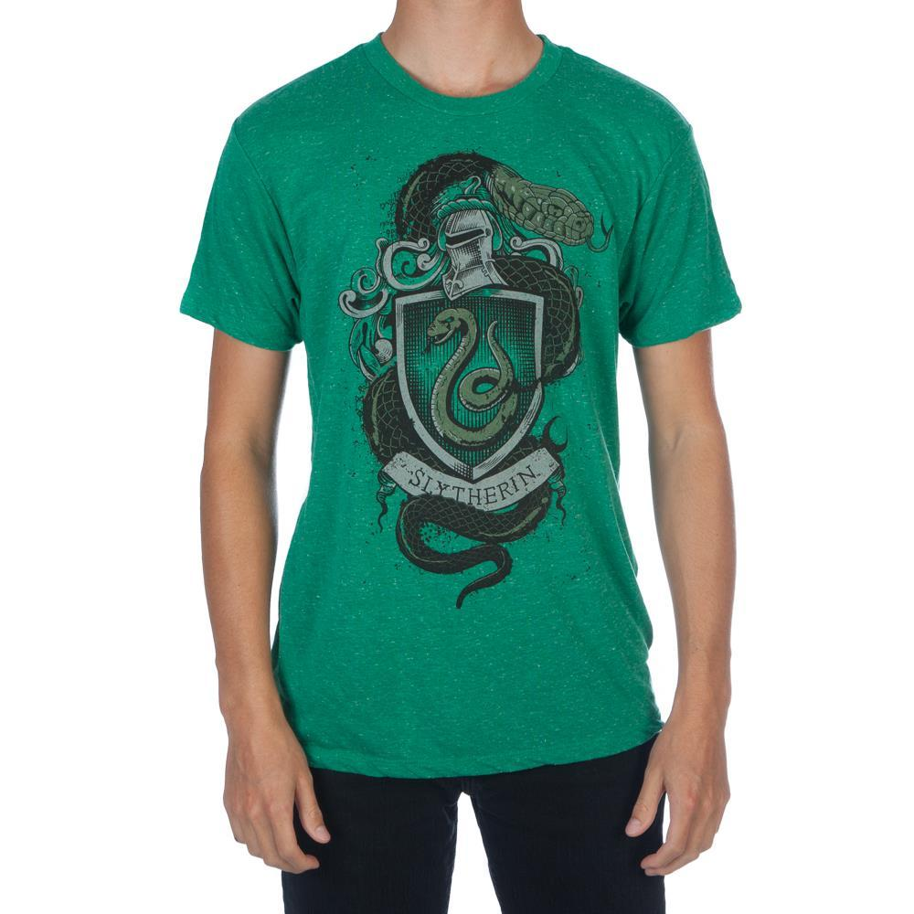 Harry Potter Hogwarts House of Slytherin Crest & Knight Helmet Men's Green T-Shirt - Nerd Gear Lab