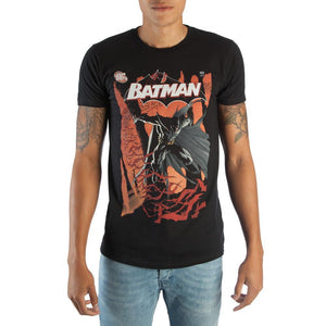 Classic Batman DC Comic Book Cover Artwork Men's Black Graphic Print Boxed Cotton T-Shirt - Nerd Gear Lab