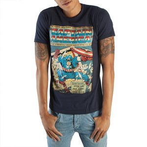 Captain America Comic Book Cover Artwork Men's Boxed Cotton T-Shirt - Nerd Gear Lab