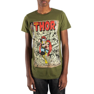 Vintage Thor Comic Book Cover Artwork Men's Graphic Print Boxed T-Shirt - Nerd Gear Lab