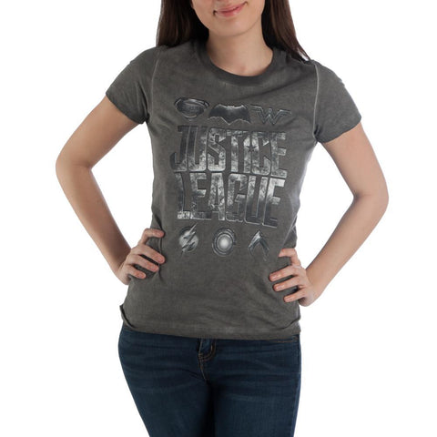 DC Comics Justice League Women's Hi-Lo Hem Charcoal T-Shirt - Nerd Gear Lab