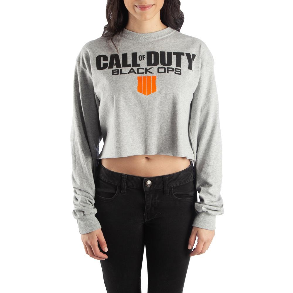 Call of Duty Black Ops Long Sleeve Crop Top Sweatshirt - Nerd Gear Lab