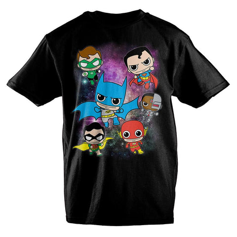 DC Comics Anime Bobblehead Justice League Boys T-Shirt - Nerd Gear Lab