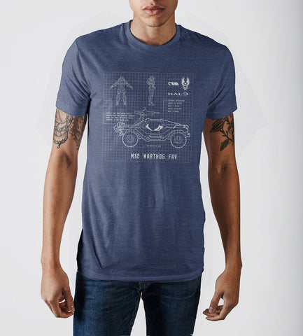 Halo Warthog Blueprint Design Navy Blue Graphic Print T-Shirt - Nerd Gear Lab
