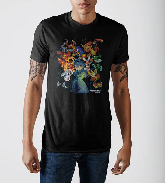 MegaMan Characters Graphic Print Black T-shirt - Nerd Gear Lab