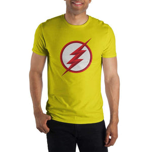 DC Comics Flash Logo Specialty Soft Hand Print Men's Yellow T-Shirt - Nerd Gear Lab