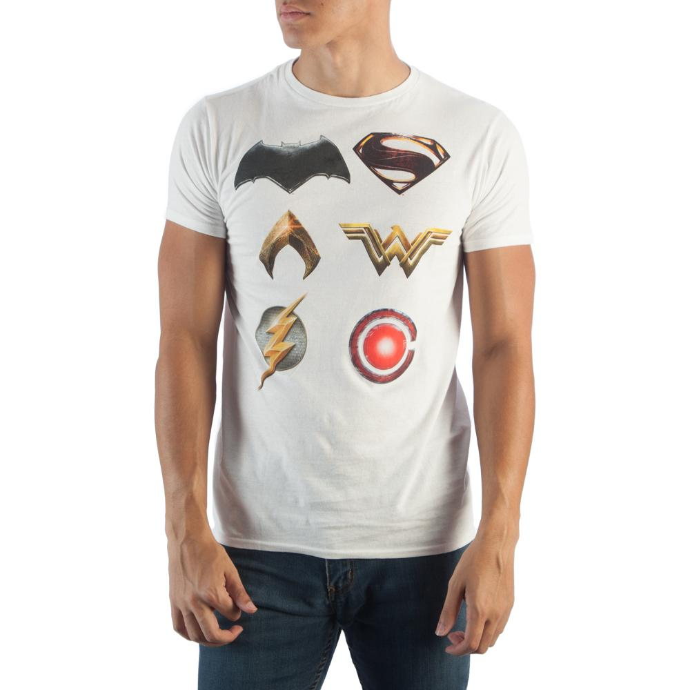 Justice League Character Logo T-Shirt - Nerd Gear Lab
