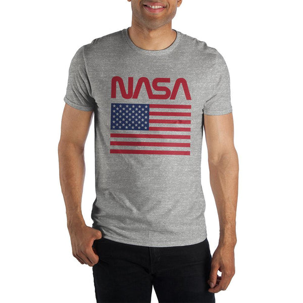 American Flag NASA Gray Men's Specialty Hand Print T-Shirt - Nerd Gear Lab