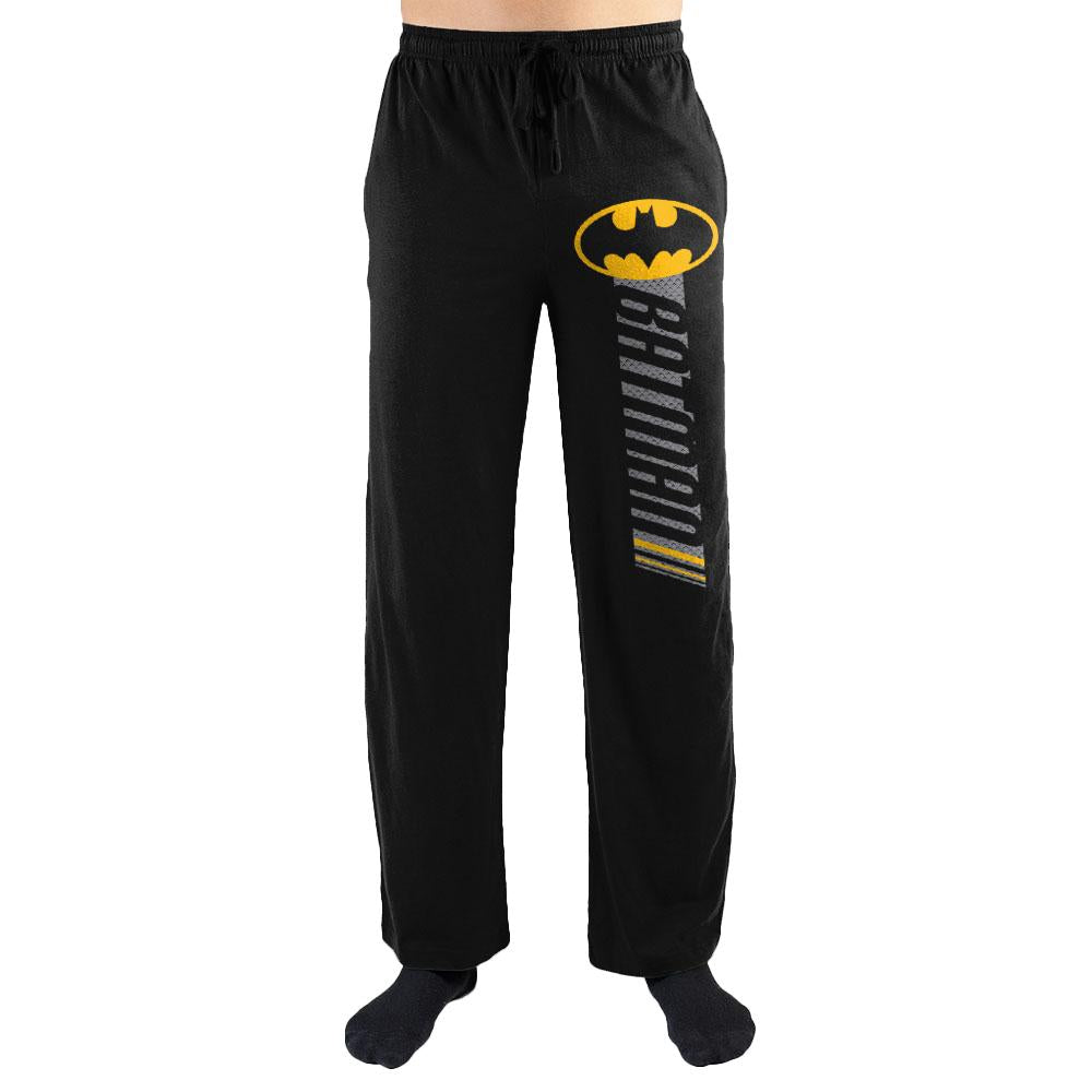 DC Comics Batman Logo Racing Stripe Mens Nightwear Lounge Sleep Pants - Nerd Gear Lab
